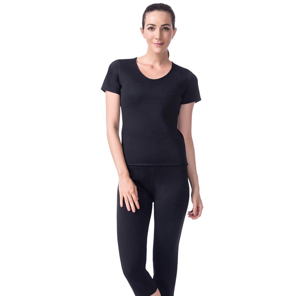 Neoprene Sweat Suit Weight Loss Slimming Shapewear Set Shirt Body...