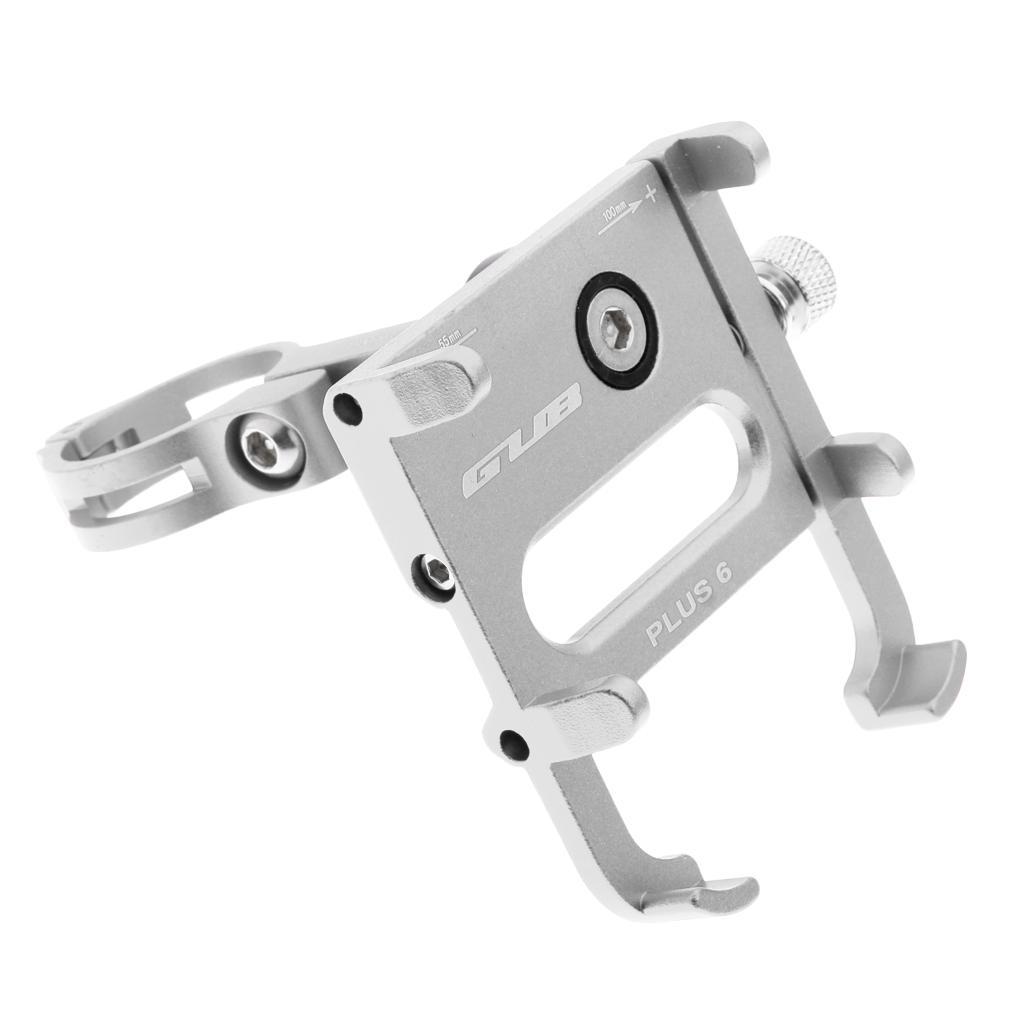 360 Rotation Mobile Phone Holder Bike Handlebar Mount Adjustable Silver
