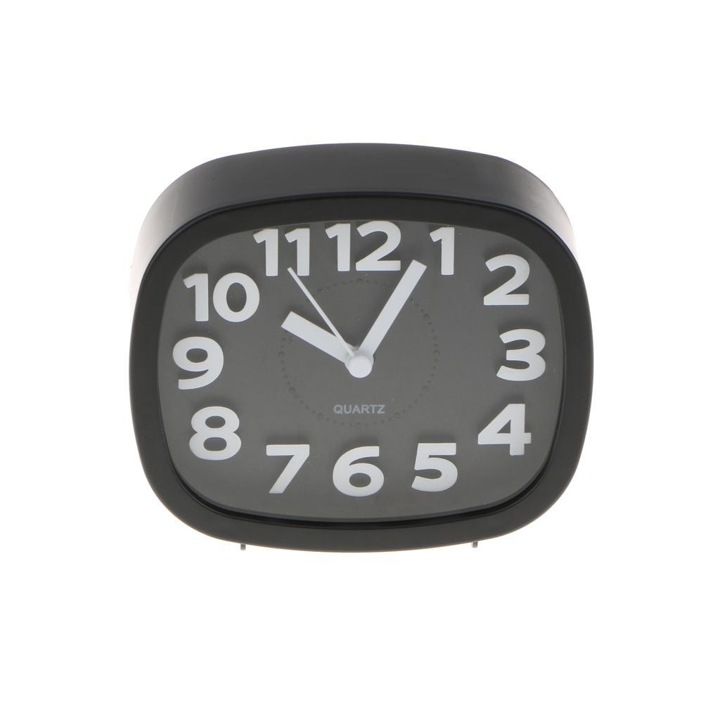 Alarm Clock Round Number Desk Bed Clocks Kids Bedroom black