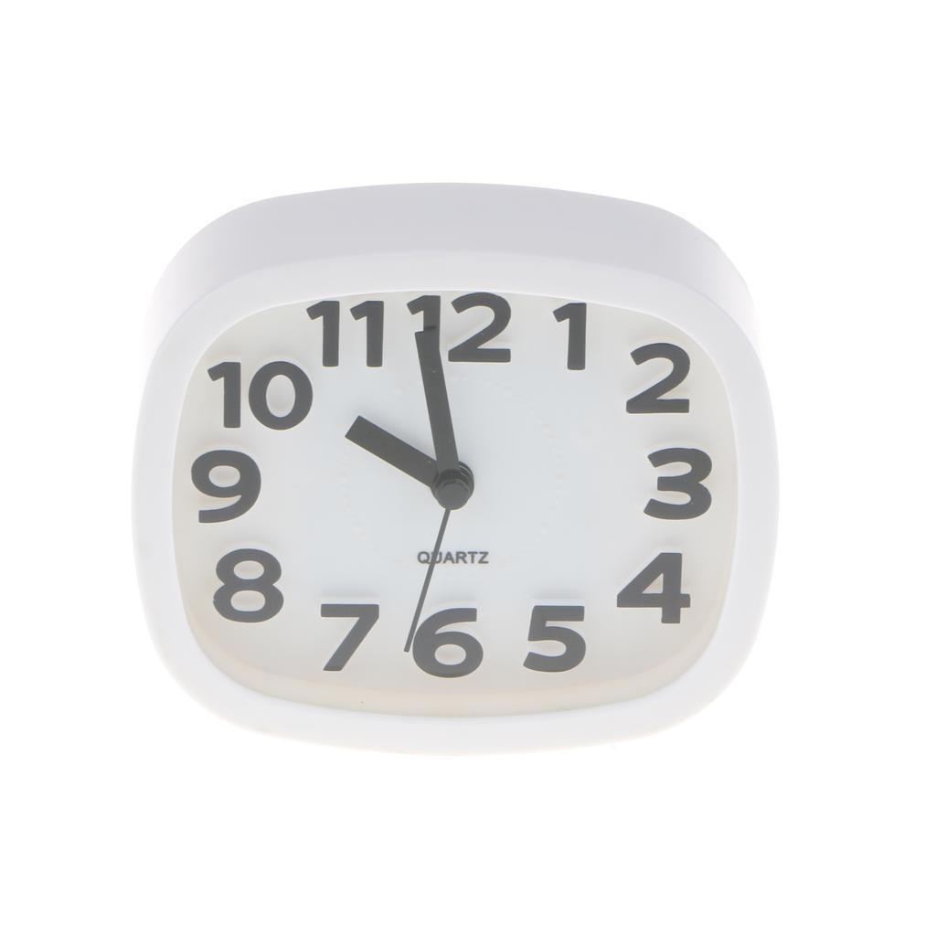 Alarm Clock Round Number Desk Bed Clocks Kids Bedroom white