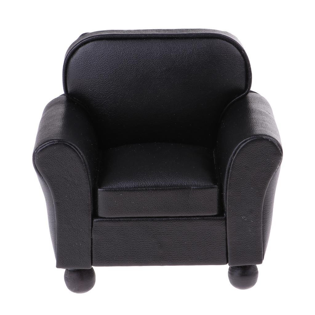 1/12 Dollhouse Furniture Leather Single Sofa Couch Miniature Accessory Black
