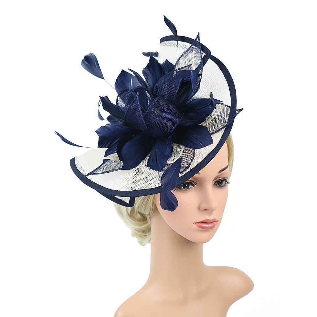 Women Hair Clip Fascinator Headpieces Wedding Bridal Hair Accessory Navy Blue
