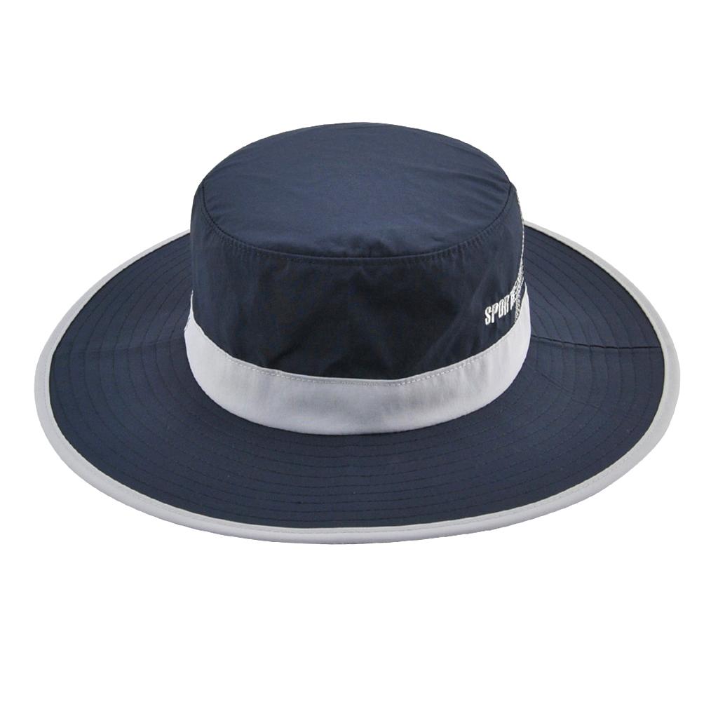 Unisex Sun Hat Wide Brim Bucket Cap for Outdoor Fishing Climbing Deep Blue
