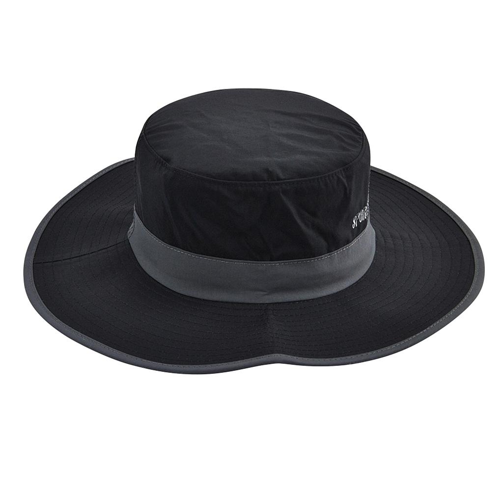 Unisex Sun Hat Wide Brim Bucket Cap for Outdoor Fishing Climbing Black