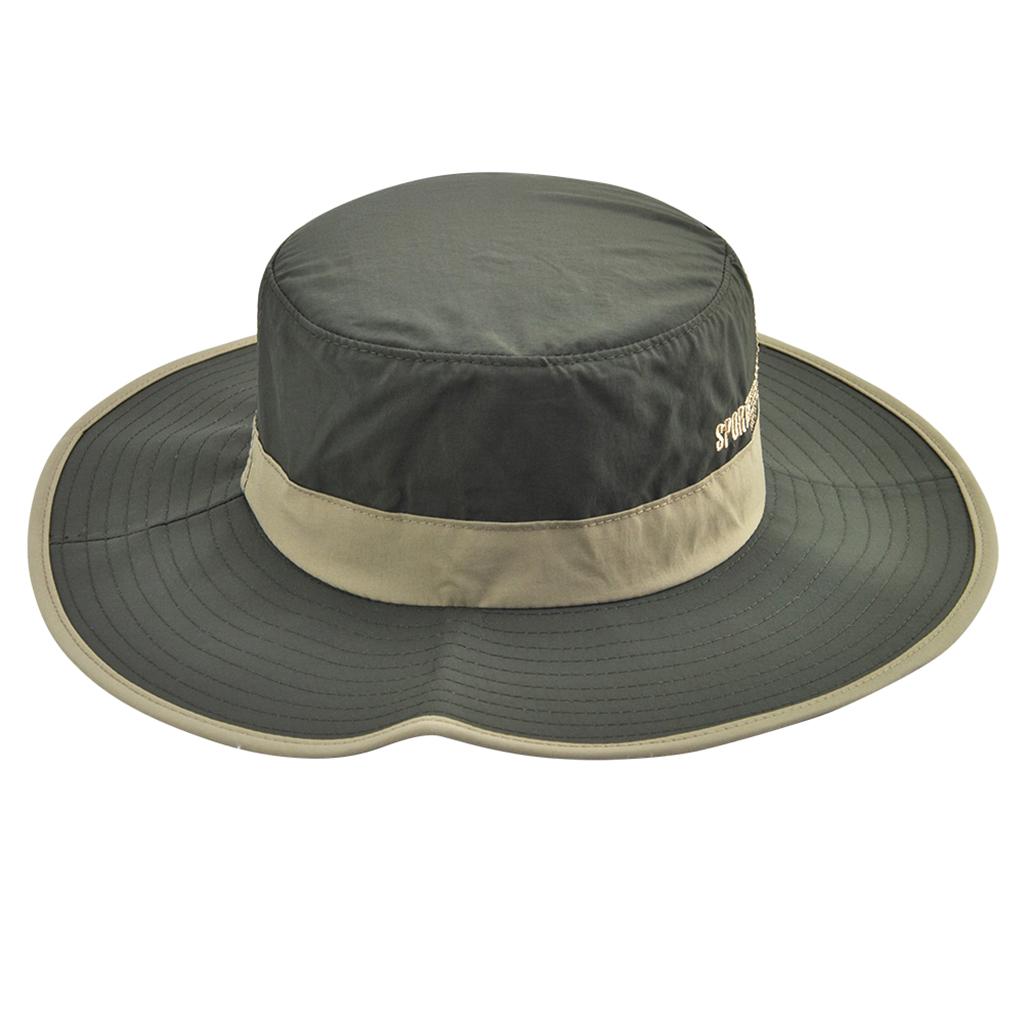 Unisex Sun Hat Wide Brim Bucket Cap for Outdoor Fishing Climbing Army green