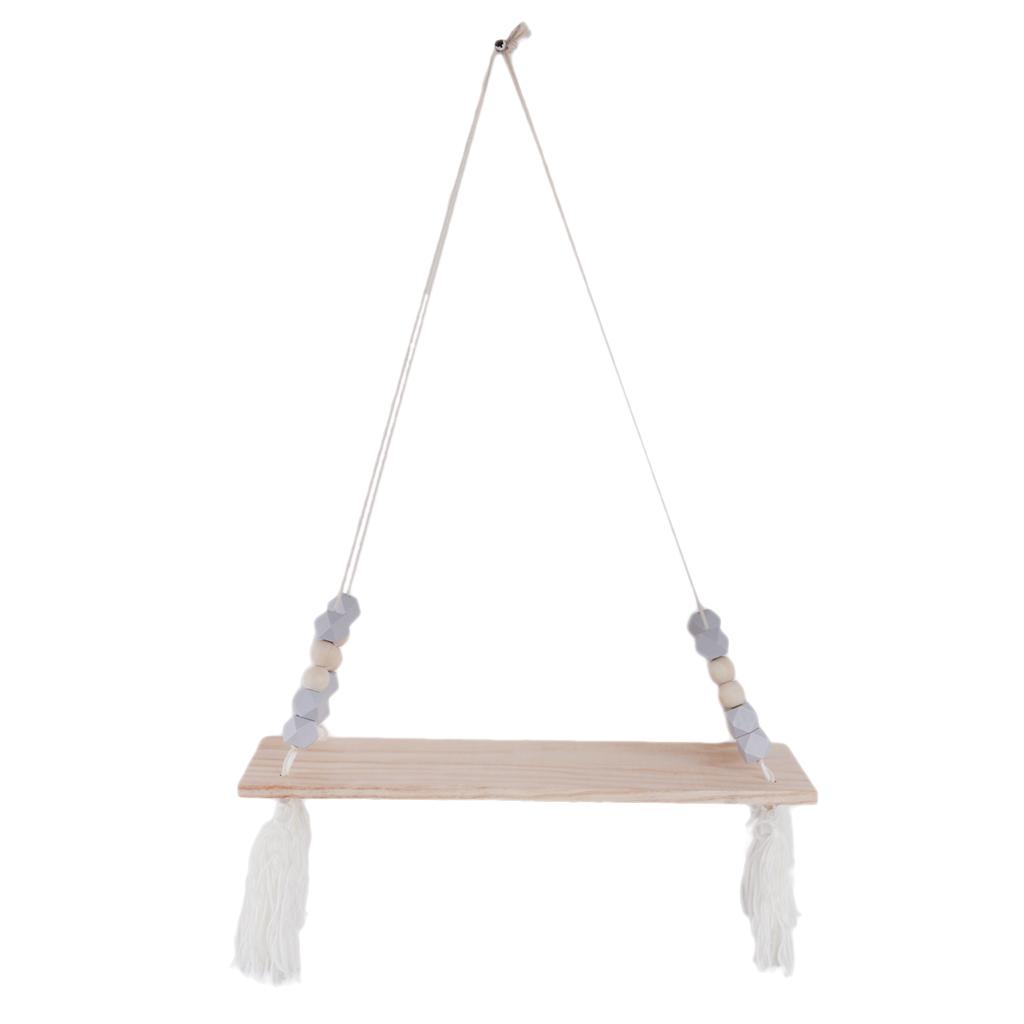 Wall Hanging Wood Swing Floating Shelf Kids Room Grey Bead White Tassel