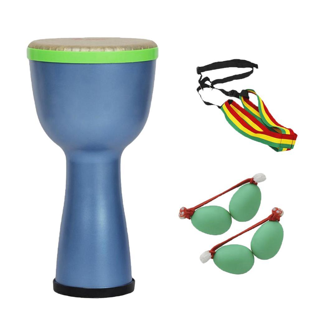 8'' African Drum Djembe+African Drum Sand Egg+African Drum Strap Blue
