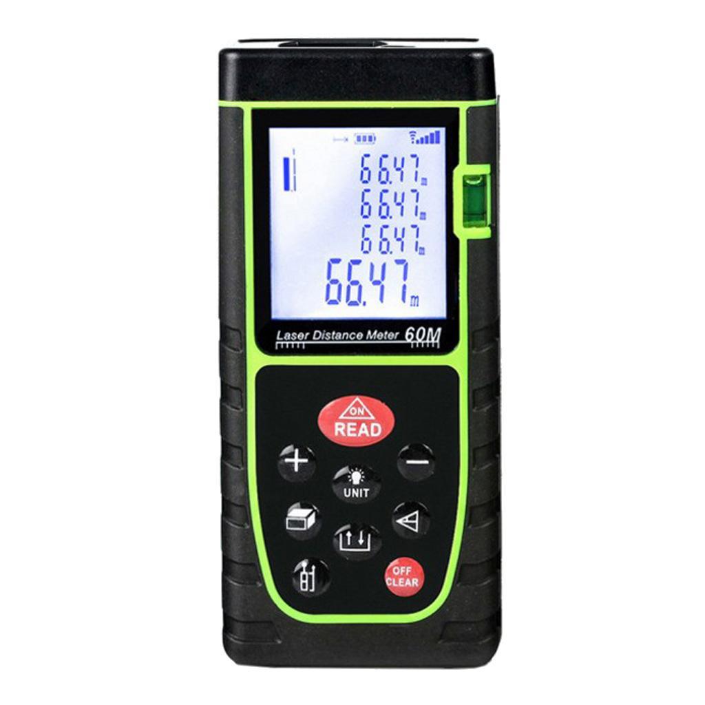 60m/197 Green Digital Laser Distance Meter Range Finder Measure Diastimeter