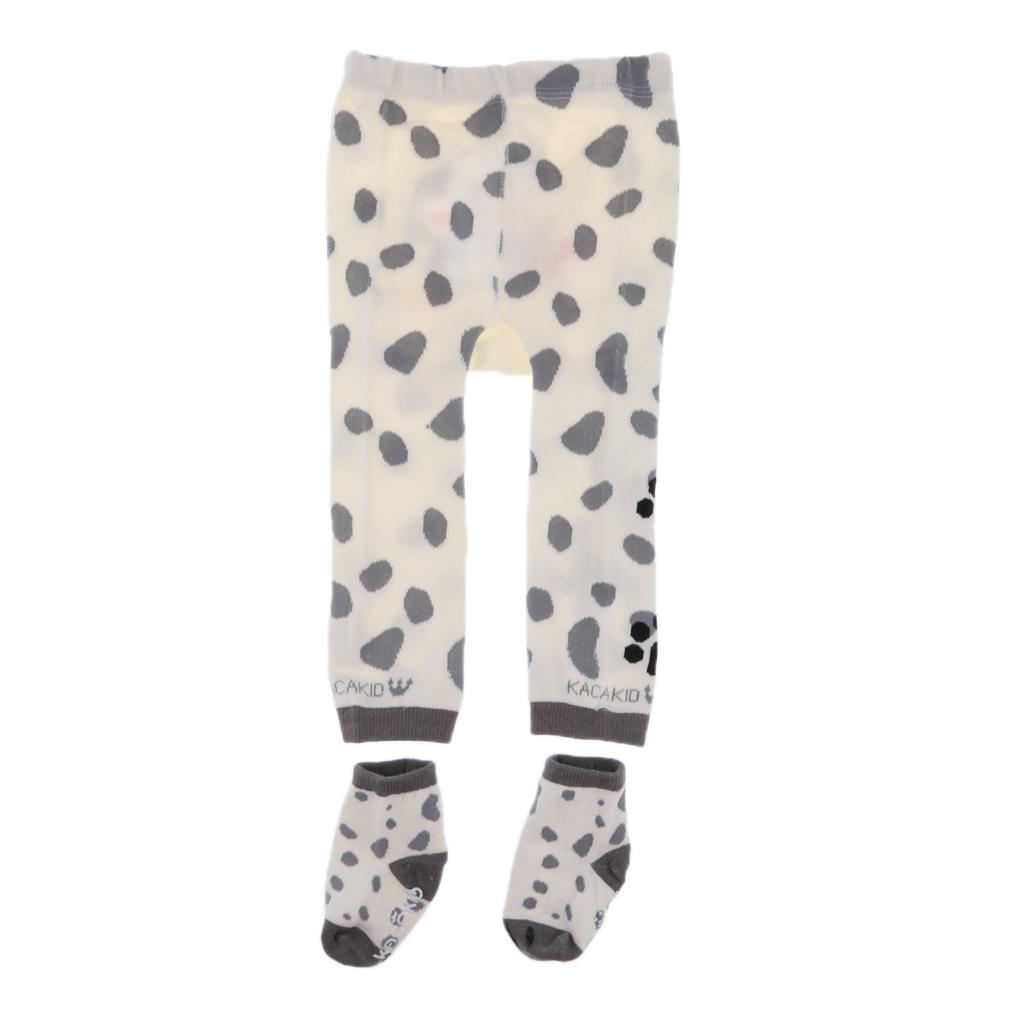 Boys Girls Warm Animal Cartoon Leggings PP Pants with Socks White Dog