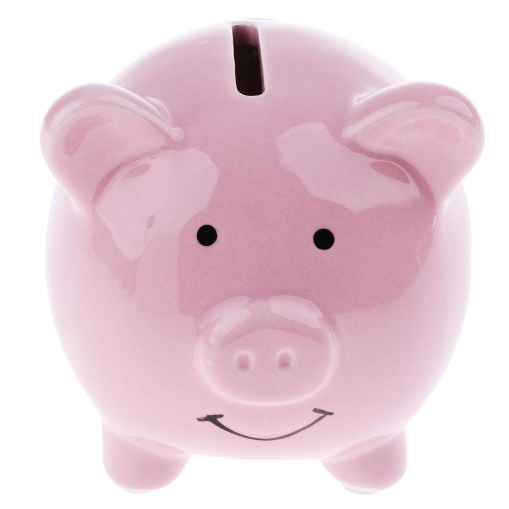 Kids Piggy Bank Money Box Saving Coins Cash Fun Gift Ceramic Pig  Small-Pink