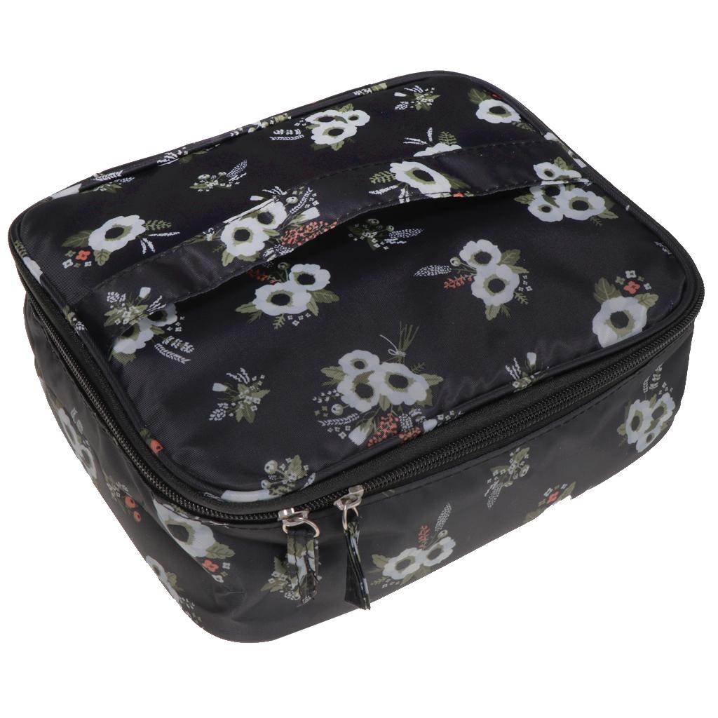 Toiletry Makeup Bag Wash Carry Organizer Zipper Compartment Bag Black Flower