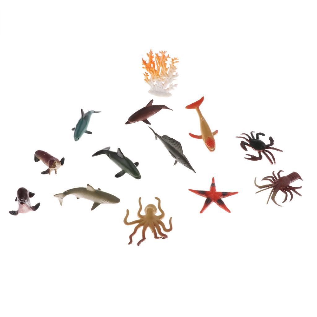 12 PCS Plastic Ocean Animals Figure Sea Creatures Model Kid Toy
