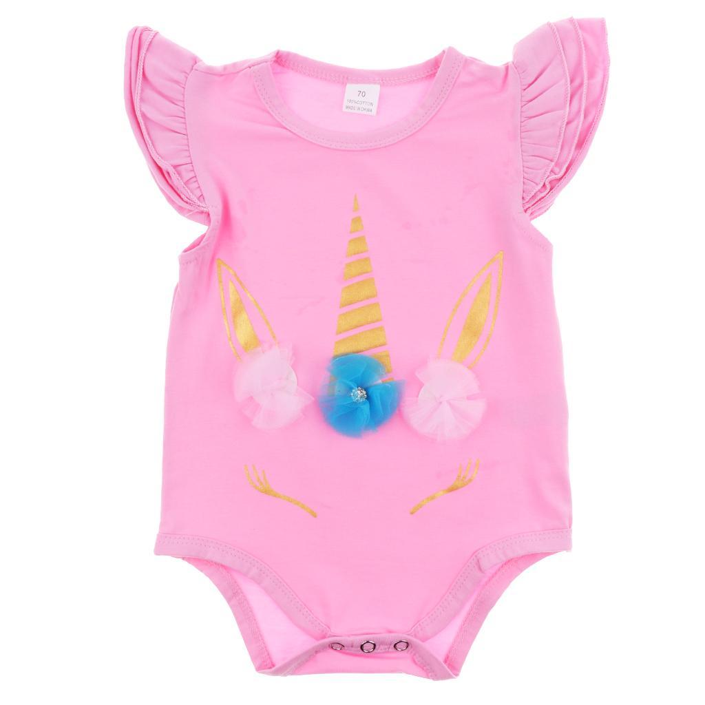 Newborn Baby Girls Unicorn Romper Jumpsuit Bodysuit Clothes Outfits 0-6 Months Pink