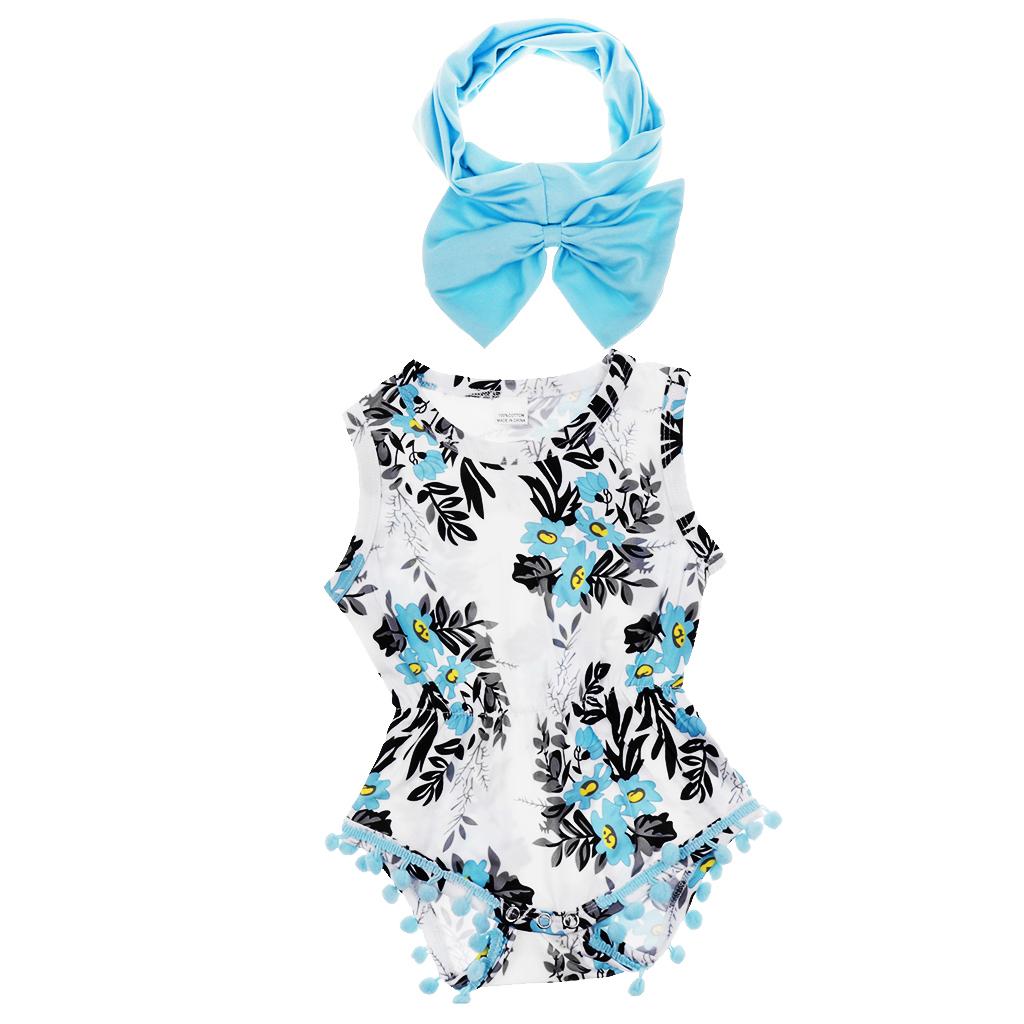 Baby Girls Sleeveless Tassel Romper with Headband 9-12 Months Blue