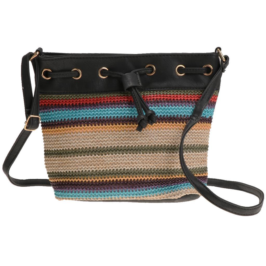 1 Piece Lady Bohemian Wave Stripe Bucket Bag with Slanted Shoulder Bag Black