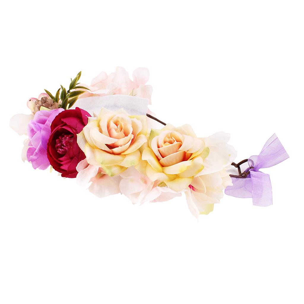 Boho Flower Headband Hair Wreath Halo Floral Garland Crown For Ki...