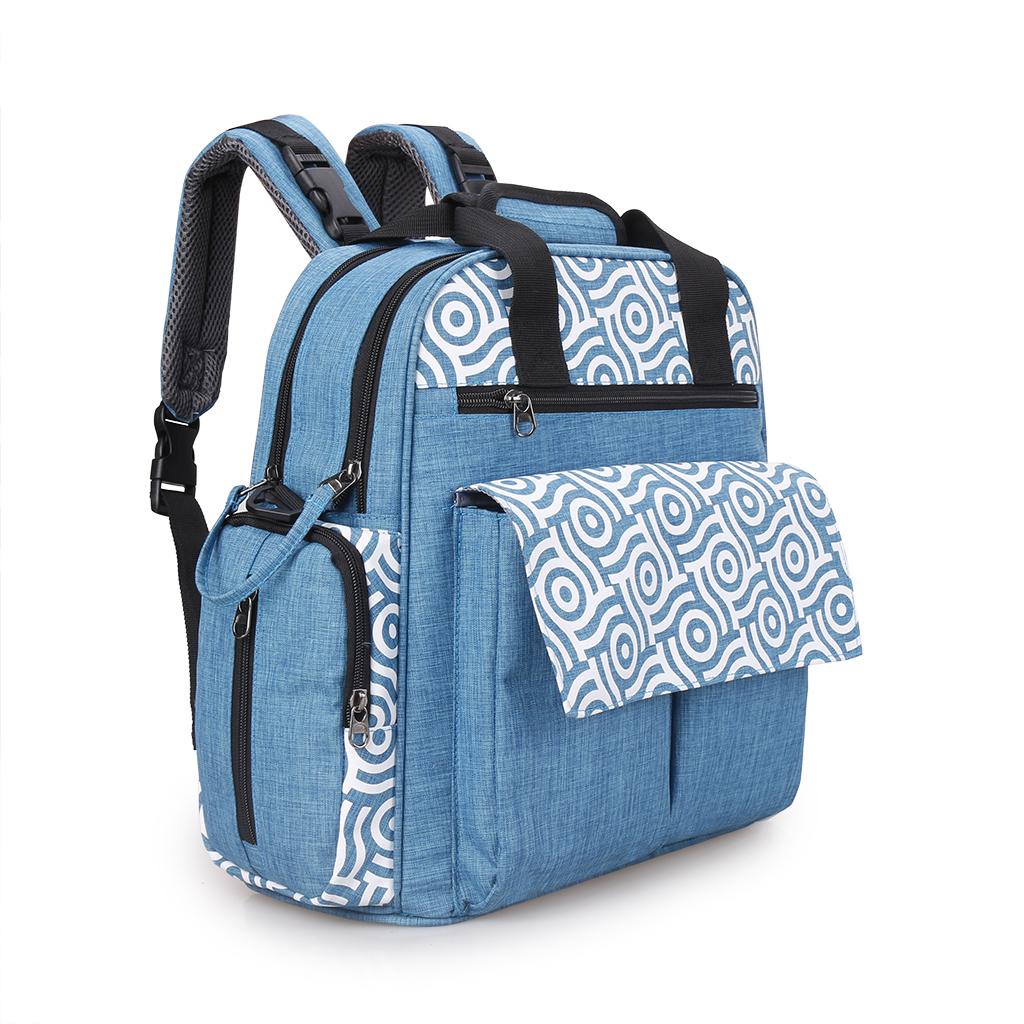 Baby Nappy Changing Bag Set Diaper Bags Mat Mummy Shoulder Handbag Blue