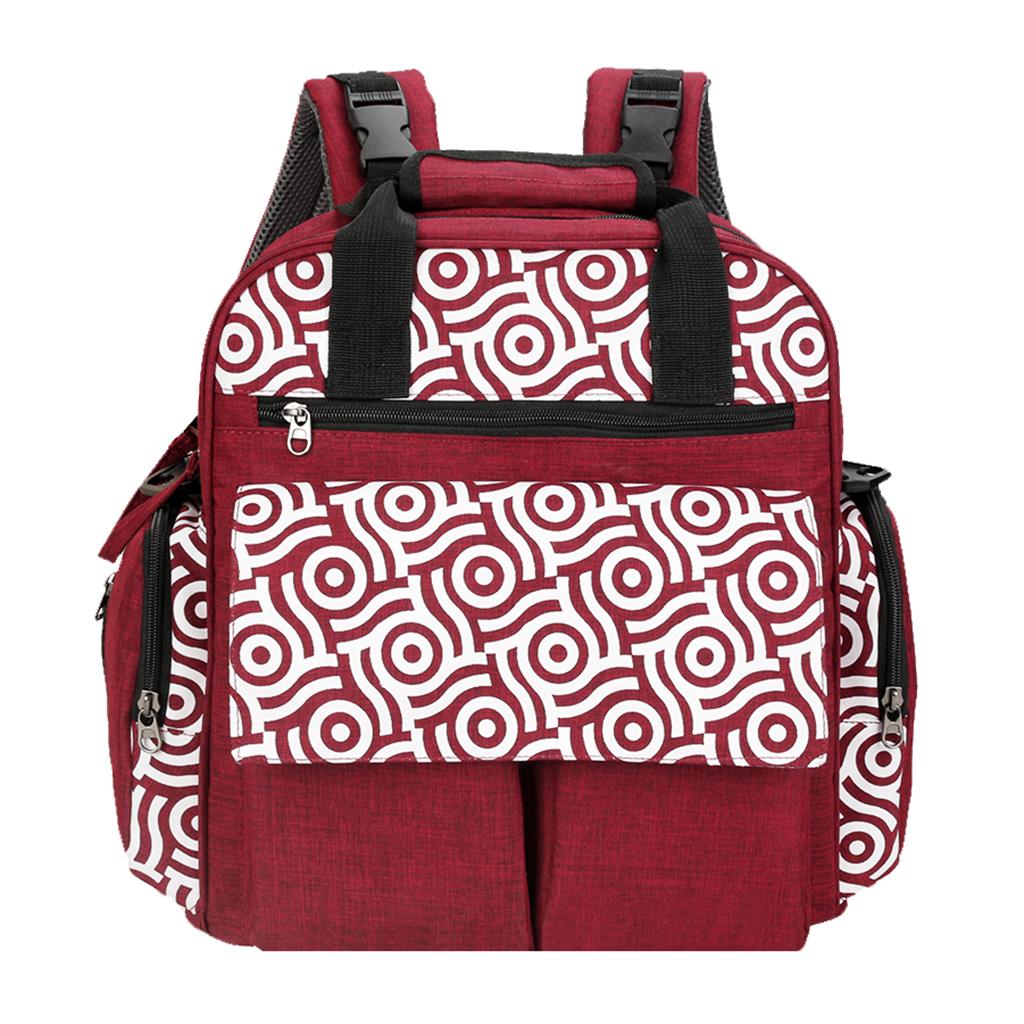 Baby Nappy Changing Bag Set Diaper Bags Mat Mummy Shoulder Handbag Rose red