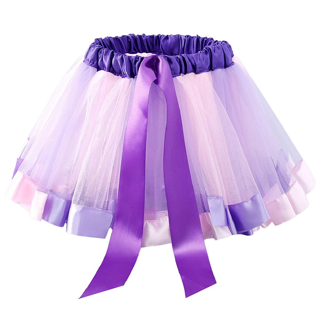 Girls Kids Baby Tutu Skirt Party Costume Fancy Tutu Pettiskirt 4-8 Years Purple